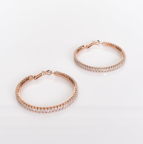 Baguette Diamante Hoop Earrings (Rose) - Alexa Nice