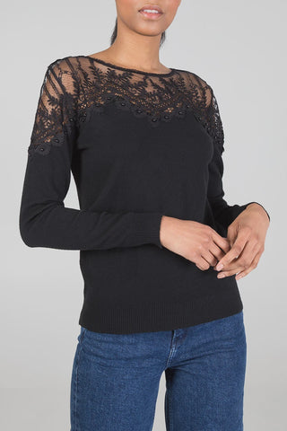 Lace Detail Jumper - Ivory - Black - Alexa Nice