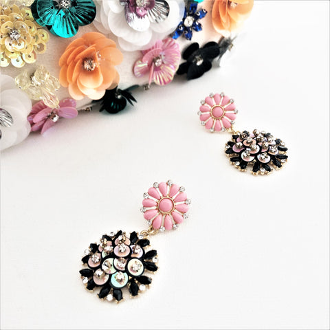 Resin & Jewel Sequin Details Flower Drop Earrings