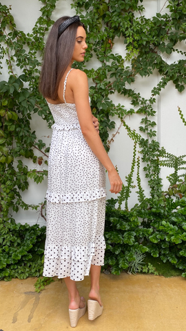 Polka Dress White - Alexa Nice