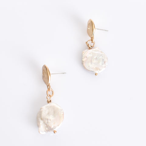 Button Pearl Drop Earrings (Gold) - Alexa Nice