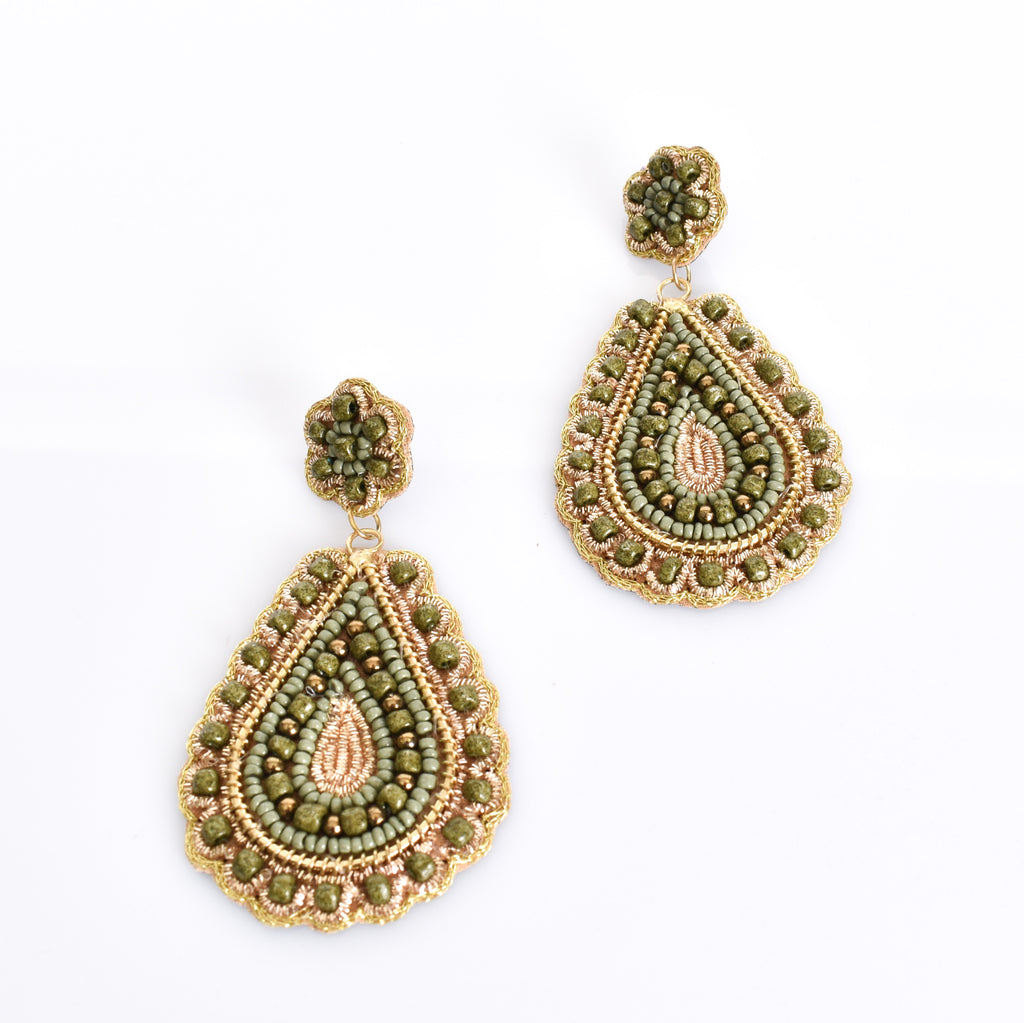 Gina Beaded Crochet Drop Earrings - Alexa Nice
