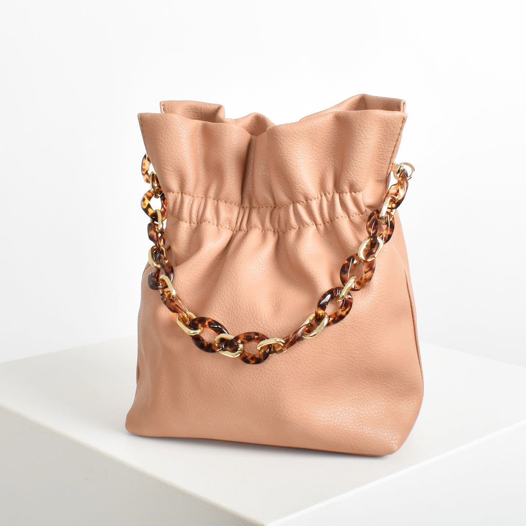 Small Gathered Resin Chain Bucket Bag - Peach - Alexa Nice