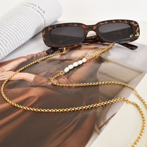 Pearl Strand & Chain Sunglasses Chain Gold - Alexa Nice
