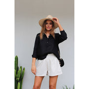 Avery Linen Blouse Black - Alexa Nice