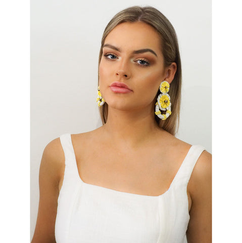 Jenna Raffia Earrings Yellow - Alexa Nice