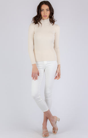 Roll Neck Knitted Top in Cream - Alexa Nice