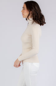 Roll Neck Knitted Top in Cream