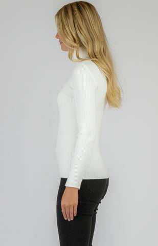 Roll Neck Knitted Top in White