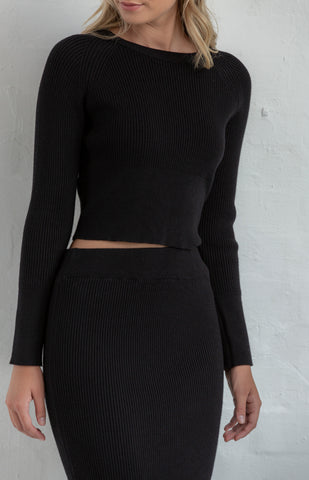 Knitted Skirt Set in Black - Alexa Nice