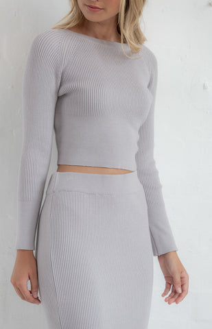 Knitted Skirt Set in Grey - Alexa Nice