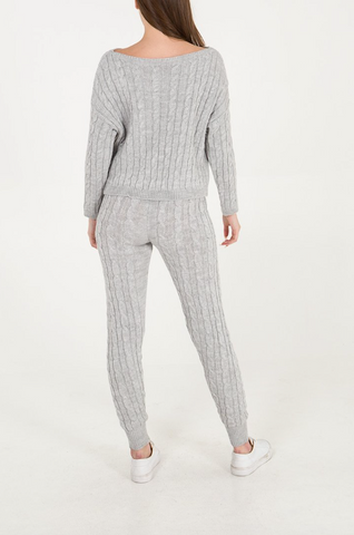 Cable Knit Two Piece Set Grey - Alexa Nice