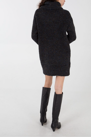 Cowl Neck Jumper Dress Black - Alexa Nice