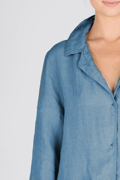 The Essential Linen Shirt - Blue Azure - Alexa Nice