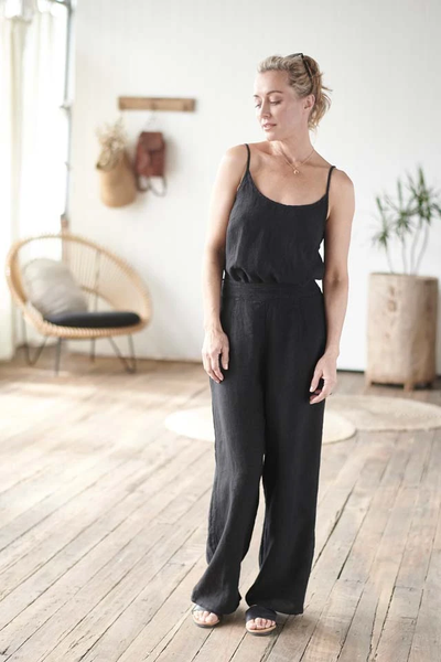 The Linen Cami - Black - Alexa Nice
