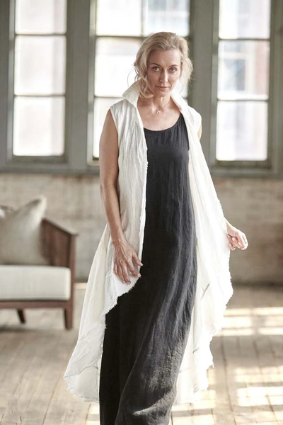Linen Maxi Dress - Black - Alexa Nice