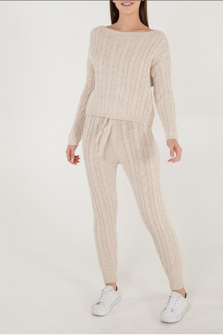Cable Knit Two Piece Set Camel - Alexa Nice
