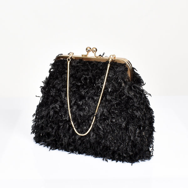 Fifi Feather Clutch Black