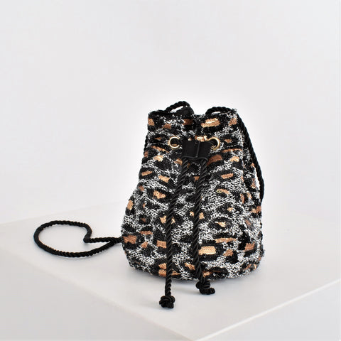 Sequin Leopard Mini Drawstring Bucket Bag - Alexa Nice