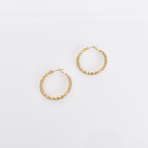 Metal Twisted Hoop Earrings (Gold) - Alexa Nice
