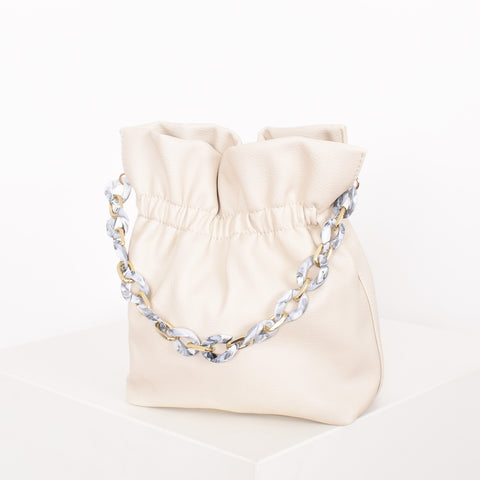 Small Gathered Resin Chain Bucket Bag - Alexa Nice