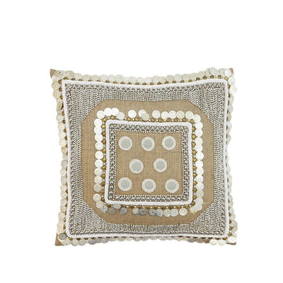 Hand beaded Mishka Cushion Beige - Alexa Nice