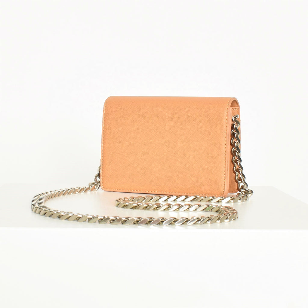Statement Chain Strap Fold Over Bag - Tan - Alexa Nice