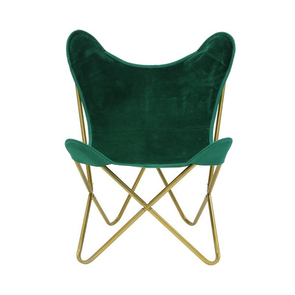 Velvet Emerald Gold Butterfly Chair