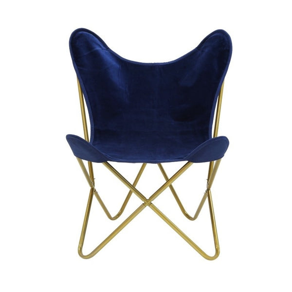 Velvet Navy Gold Butterfly Chair