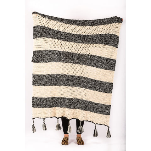 Hand Loomed Zari Throw Black - Alexa Nice