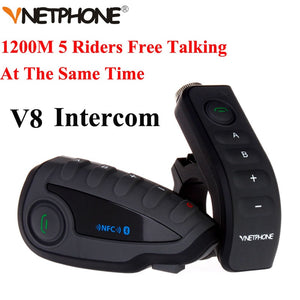 Vnetphone V8 1200M Bluetooth Intercom Motorcycle Helmet Interphone Headset