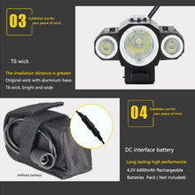 Load image into Gallery viewer, 10000LM XML 3xXML T6 +2R5 LED 4.2v Adjust Angle Bicycle Light Head Lamp Headlight with Battery +Headband