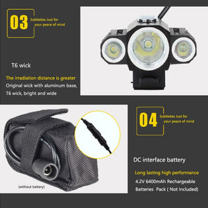 10000LM XML 3xXML T6 +2R5 LED 4.2v Adjust Angle Bicycle Light Head Lamp Headlight with Battery +Headband