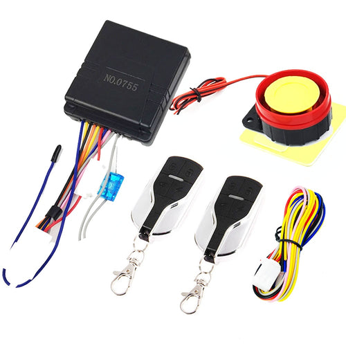 12V Universal Motorcycle Alarm System Moto Scooter Anti-theft Security With Engine Start Remote Control Key Fob
