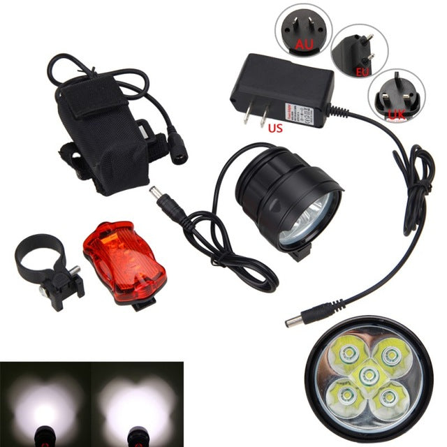 15000 Lumens Safety MTB Light 5x XM-L T6 LED Bike Lamp