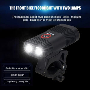 Bicycle Lamp 2x XM-L T6 LED Light USB Rechargeable Built-in Battery Headlight with Rear Light
