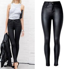 Load image into Gallery viewer, Top Vogue Women's Clothing Slim Faux Leather Pants High Waist Motorcycle