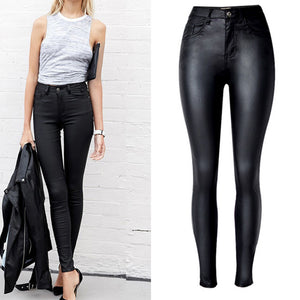 Top Vogue Women's Clothing Slim Faux Leather Pants High Waist Motorcycle