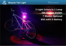 Load image into Gallery viewer, 3 Colors USB Rechargeable Bicycle Light Taillight LED