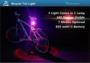 3 Colors USB Rechargeable Bicycle Light Taillight LED