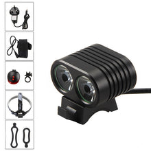 Load image into Gallery viewer, 5000 LM 2x T6 LED Front Bicycle Light 2 in 1 Bike Headlamp Cycling Torch with 4x18650 Rechargeable Battery Pack