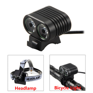 5000 LM 2x T6 LED Front Bicycle Light 2 in 1 Bike Headlamp Cycling Torch with 4x18650 Rechargeable Battery Pack