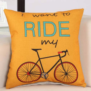 Bicycle Pattern Cotton Linen Throw Pillow - Bike-Moto