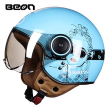 Load image into Gallery viewer, BEON Motorcycle Helmet Chopper 3/4 Open Face Vintage Helmet