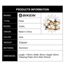 Load image into Gallery viewer, BIKEIN Mountain Bicycle BMX CNC Aluminum Anti-Slip Pedals 3 Sealed