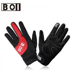 BOI Unisex Full Finger Cycling Gloves Touch Screen
