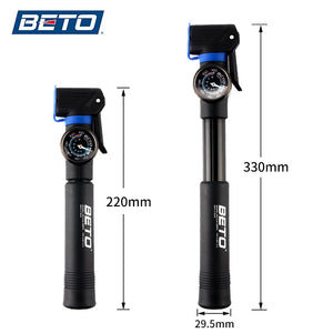 Beto Bike Pump 120psi Big Gauge Bicycle Pump - Bike-Moto
