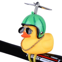 Load image into Gallery viewer, Bicycle Bell Cartoon Yellow Duck Bicycle Helmet Light Electric Car Horn
