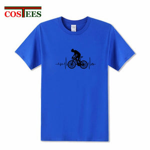Cool Mountain Biker Electric Heartbeat T Shirt Men