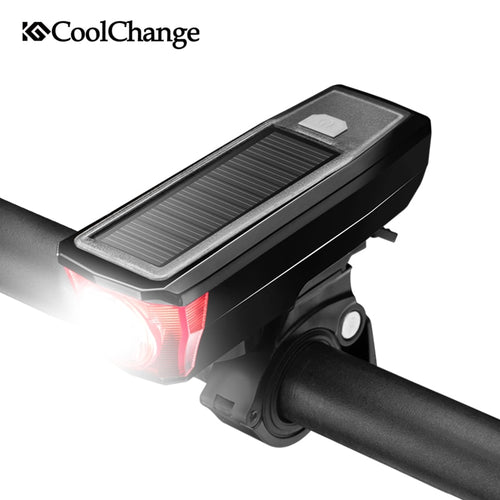 CoolChange Solar Bike Light-Bell Waterproof USB Rechargable Torch